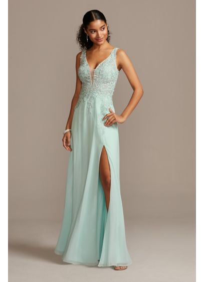 Corded Lace Embellishment Plunging Chiffon Gown - Corded lace flowers and brilliant crystals embellish the